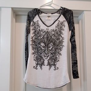 Vocal style#9670L black & white long sleeve small